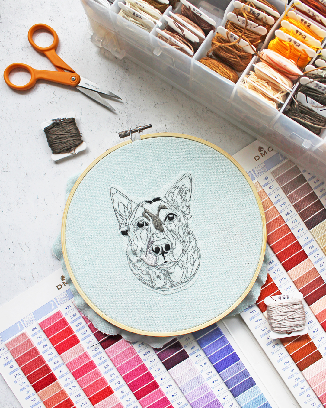 How I Use the DMC Thread Card in Picking Colors for Pet Portraits [Brown Paper Stitch Dispatch]