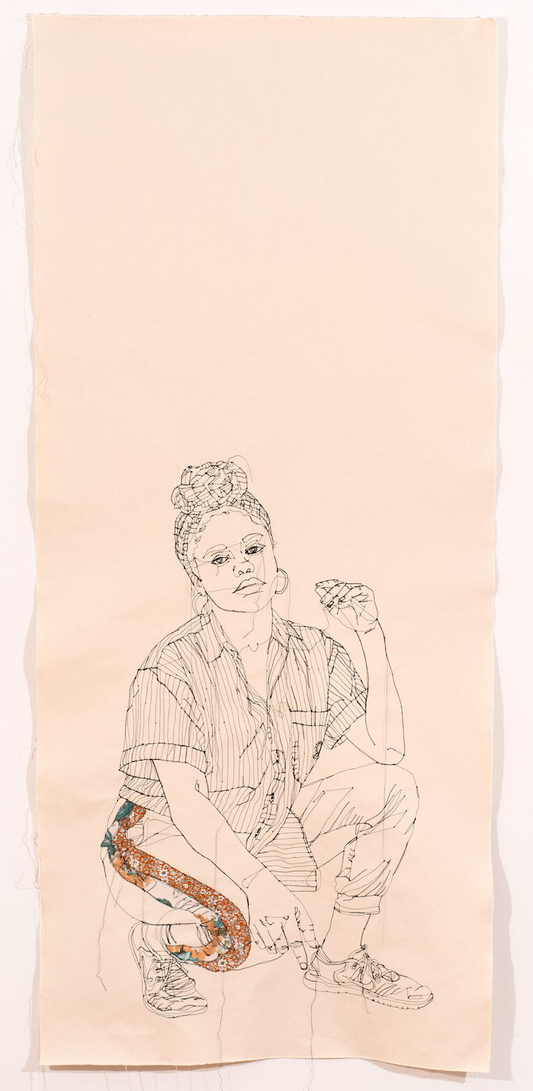 Embroidered portraits by Gio Swaby