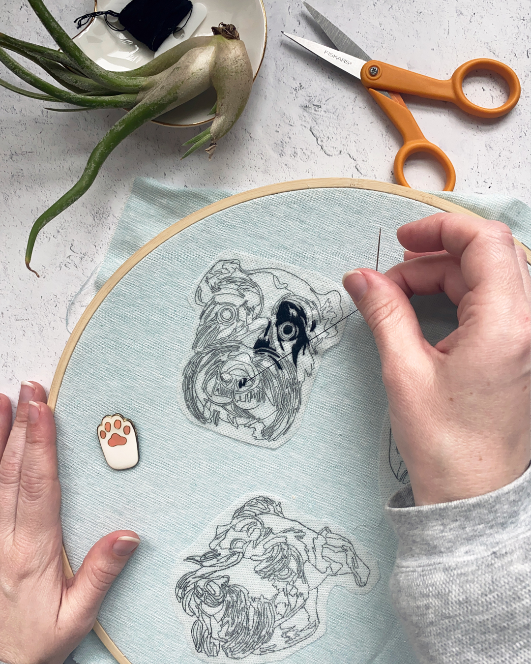 Stitching custom pet portrait patches by Brown Paper Stitch