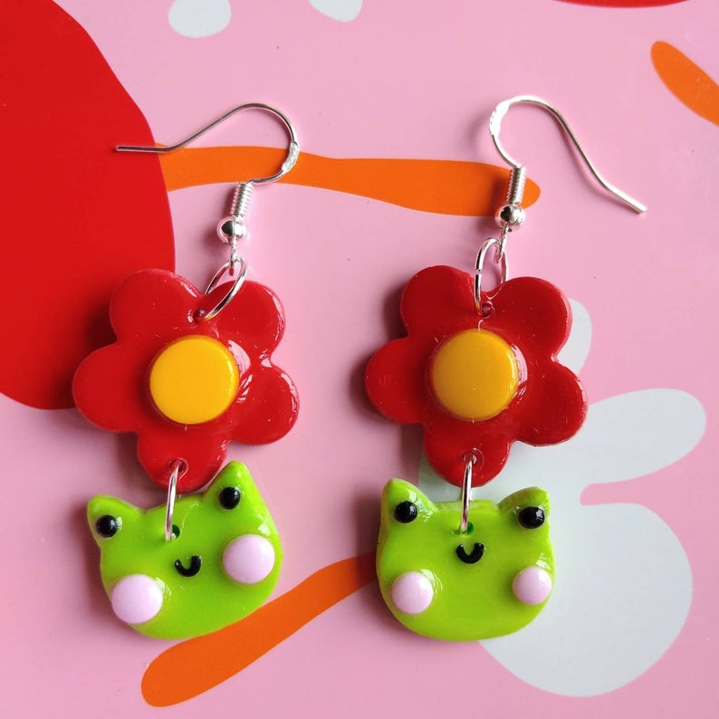 Polymer clay frog and flower earrings