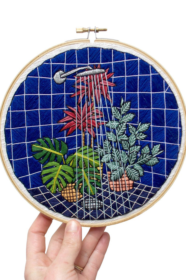 Plant embroidery pattern by Sarah K. Benning