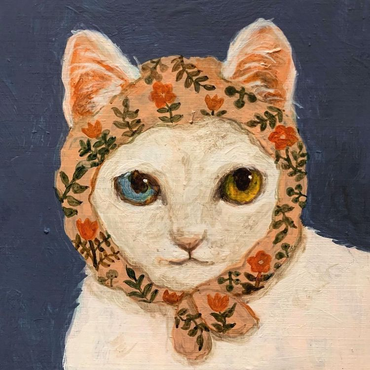 Illustration of a cat wearing a head scarf