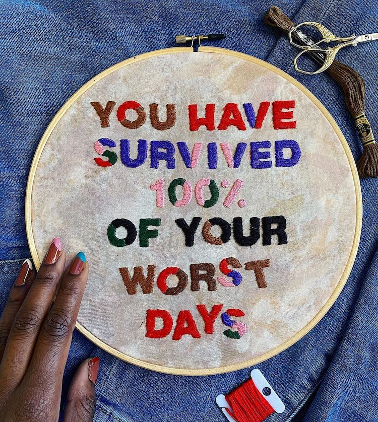 Embroidered Words Offer Gentle Reminders and Validation That You Can Hang on Your Wall
