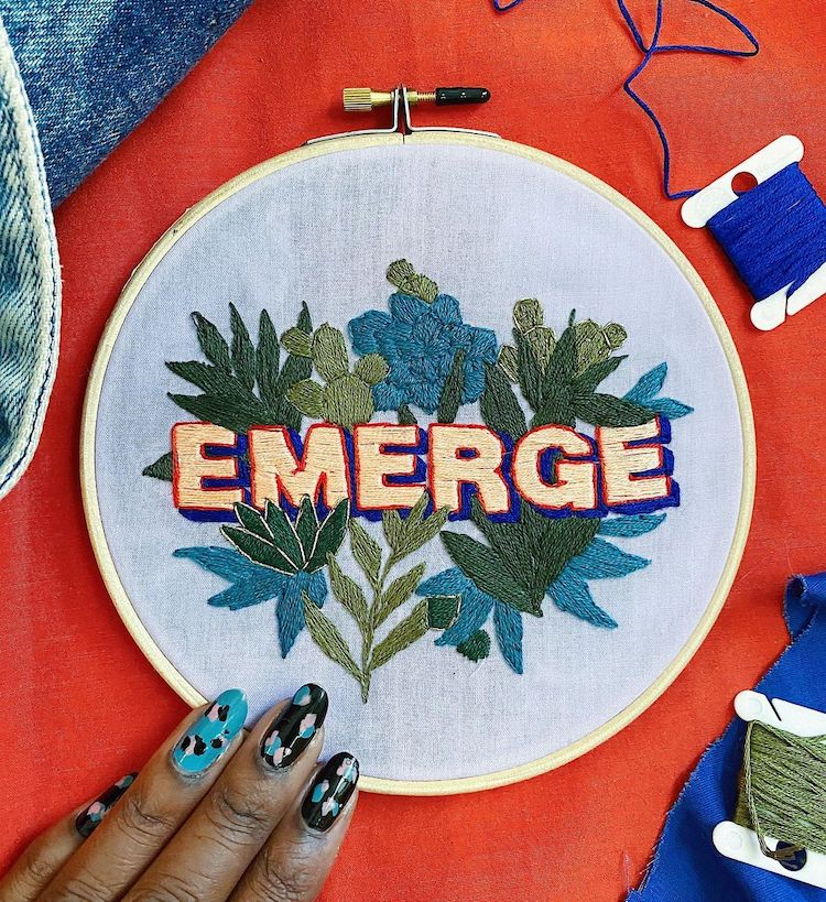 Embroidered words by Ciara LeRoy