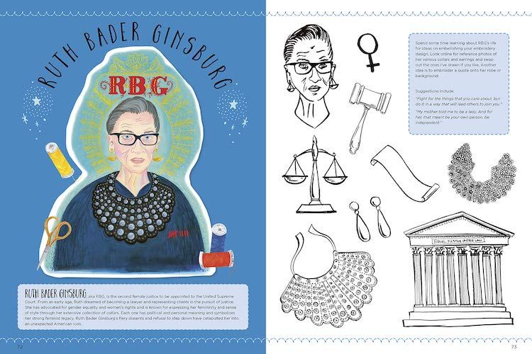 Spread from 'Empowered Embroidery' book featuring RBG