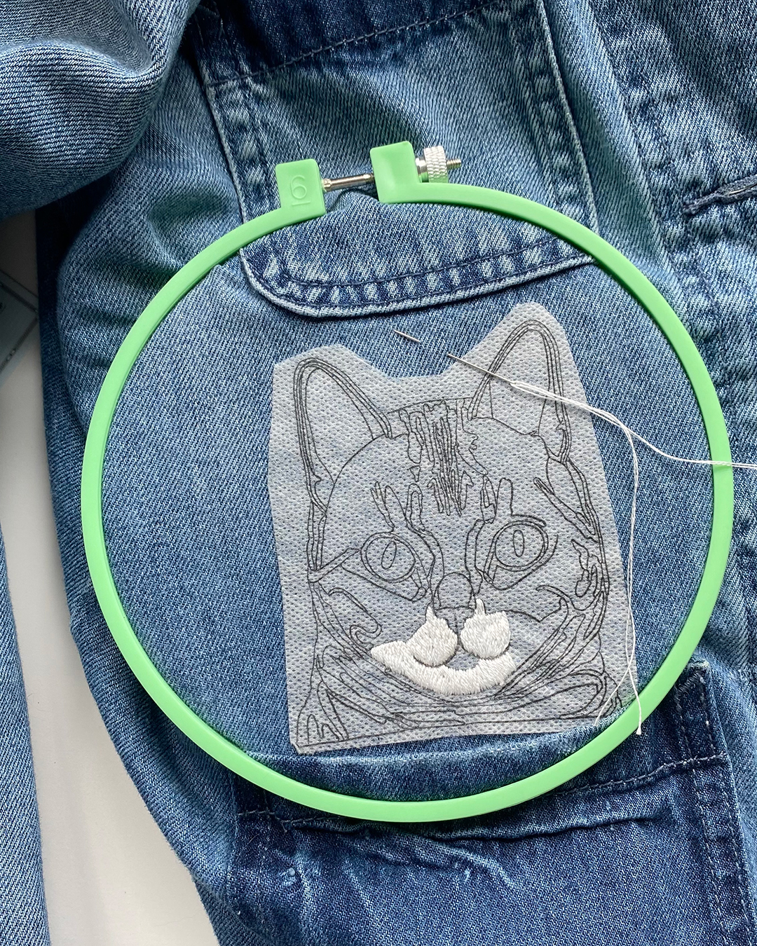 Cat embroidery on a jacket