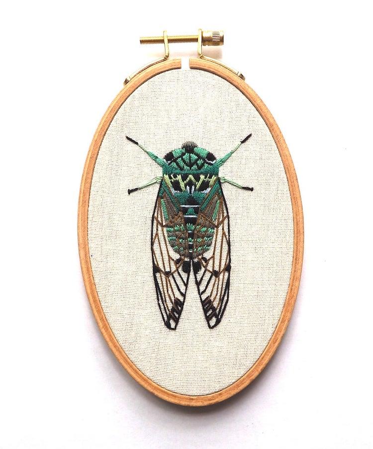Cicada embroidery pattern