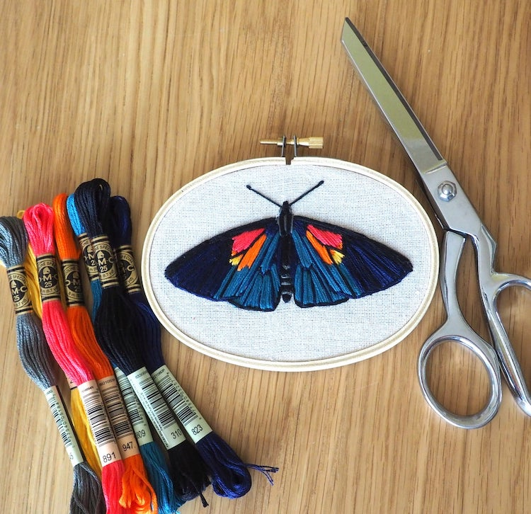 Moth embroidery pattern