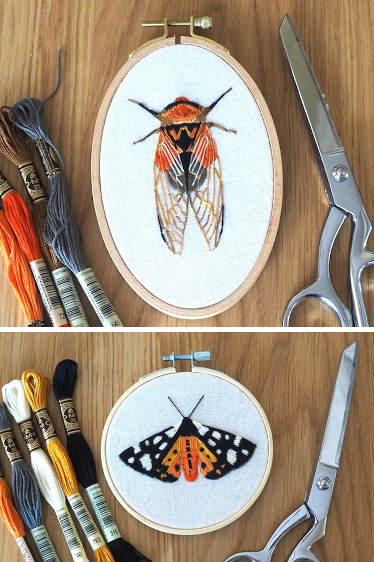 Insect embroidery patterns