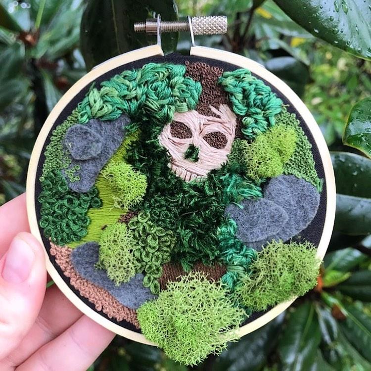 Fossil embroidery by Rachel Crisp