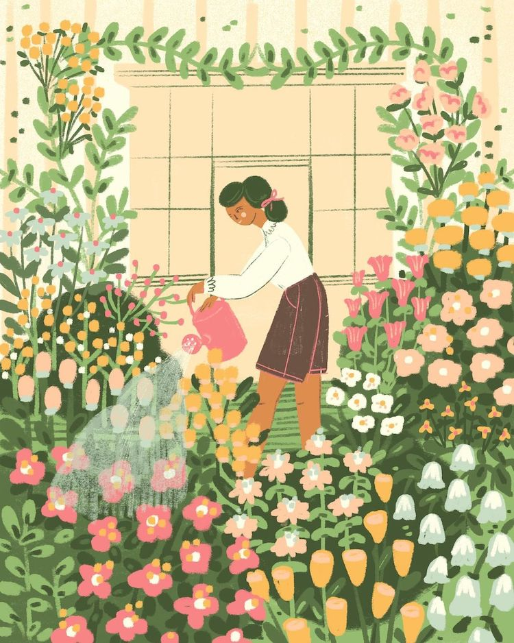 Illustration of a woman with plants and a watering can