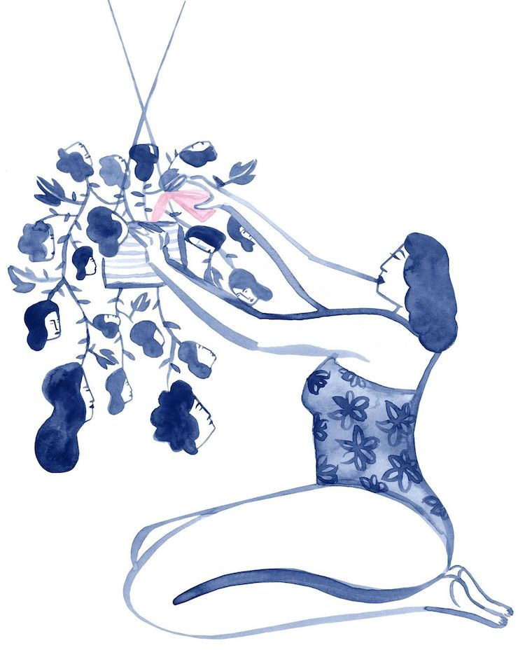 Ink illustration of a woman watering a plant