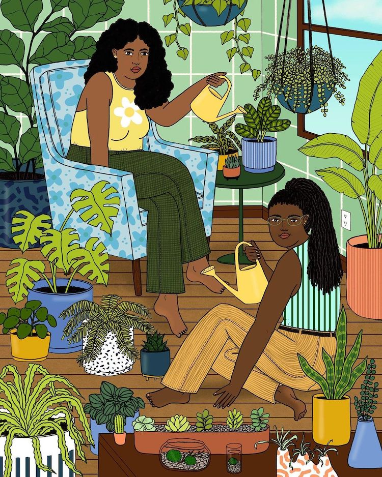 Illustration of women with plants and a watering can