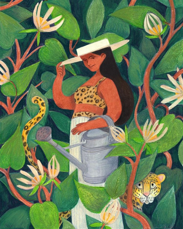 Illustration of woman standing among plants holding a watering can with big cats around her