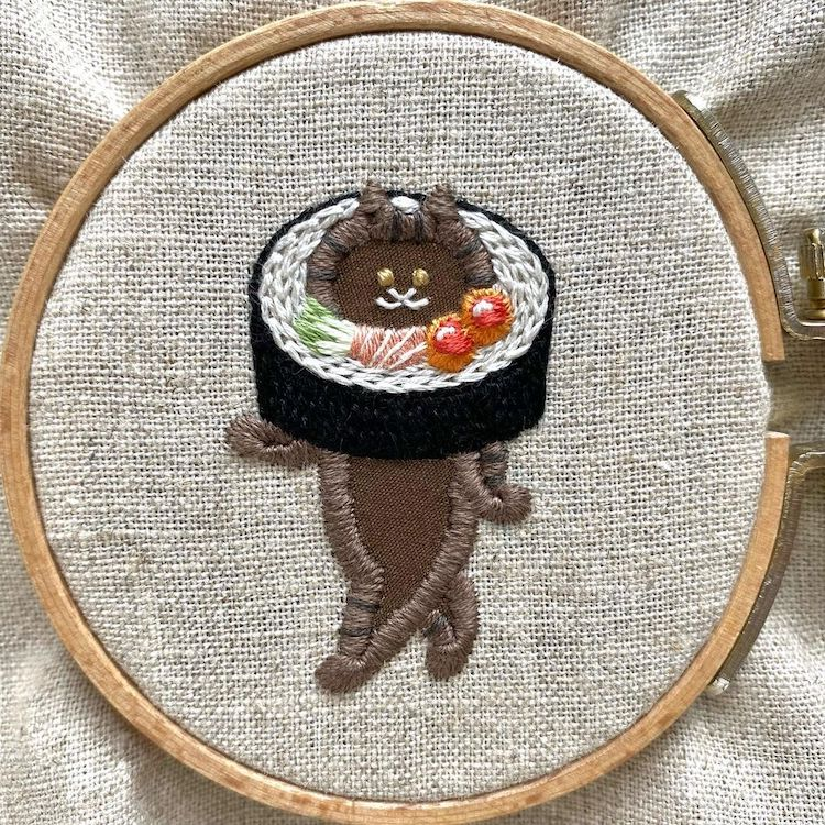 Fashion, Food, and Felines Take Center Stage in These Charming Embroideries