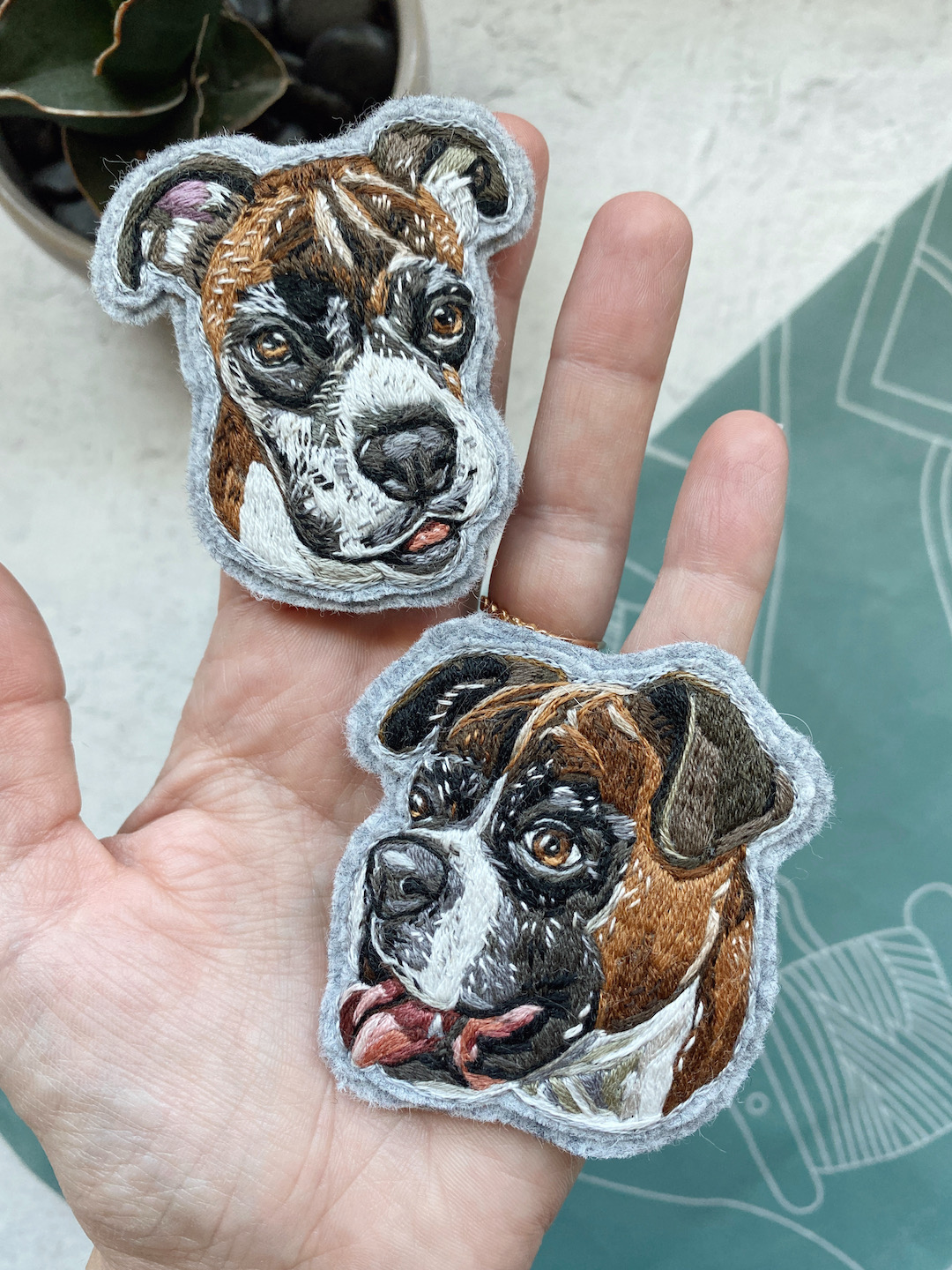 Custom embroidered pet portrait of a dog