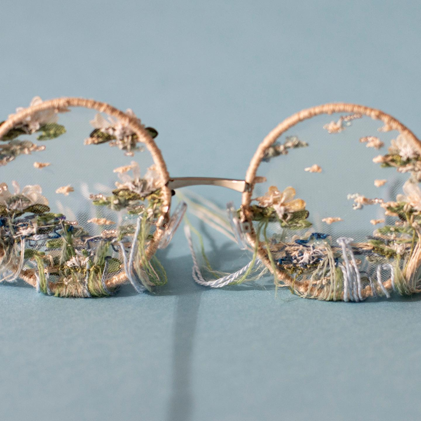 Embroidered glasses by Pola Laamanen