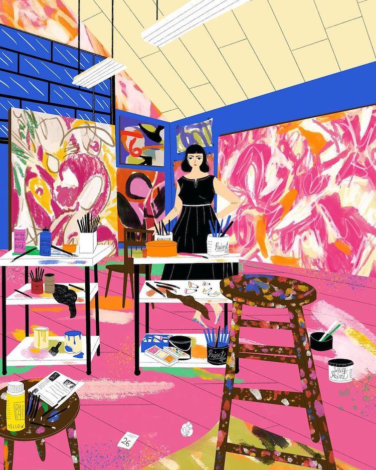 Illustration of Lee Krasner by Juliana Vido