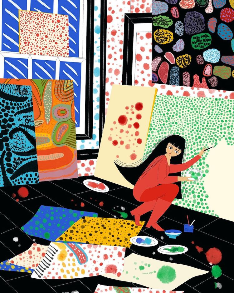 Illustration of Yayoi Kusama